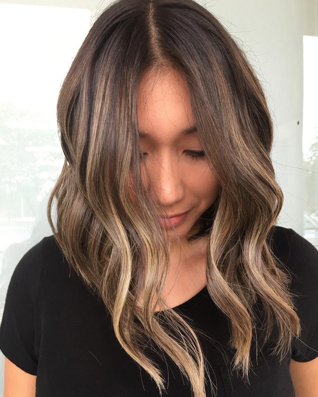 покраска волос для брюнеток на средние волосы