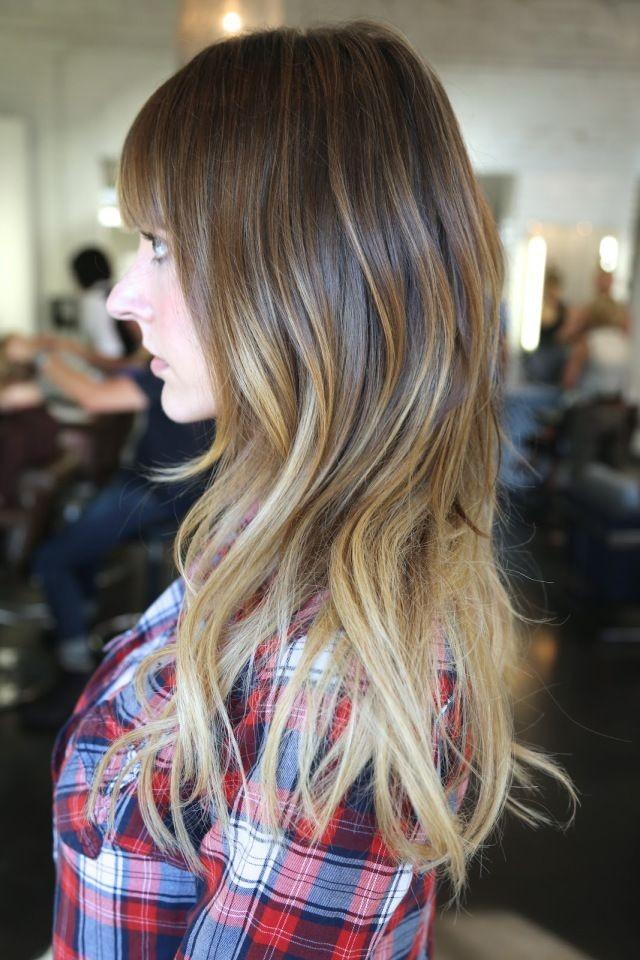 Модная покраска методоммелирование на средние волосы