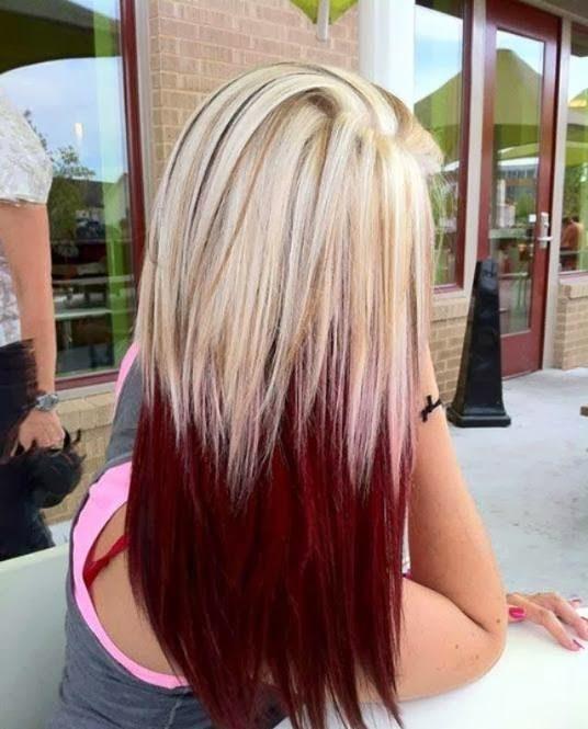 Модная покраска методомомбре на средние волосы