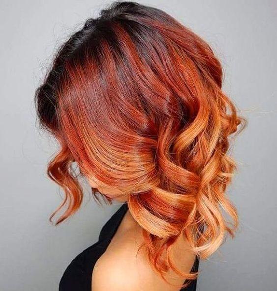 Модная покраска методомколорирование на средние волосы фото
