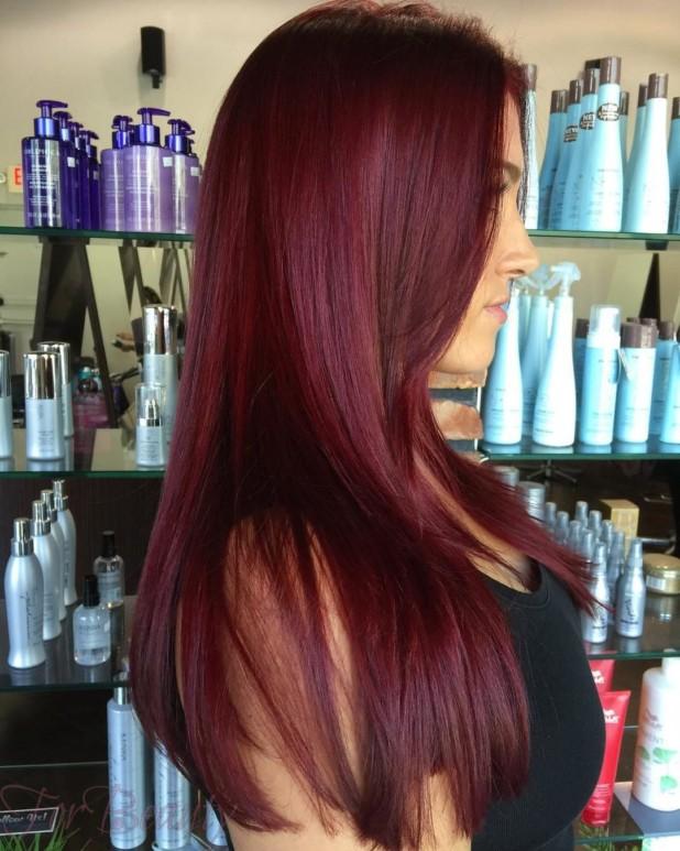 окрашивание с винным оттенком на длинные волосы 2018
