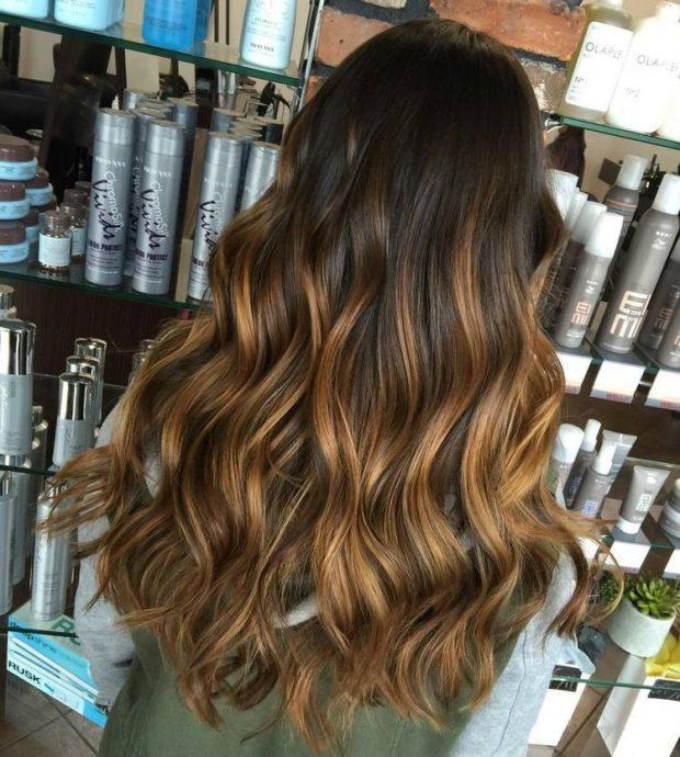 окрашивание в многогранно-темный цвет на длинные волосы 2018