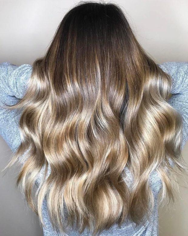 окрашивание на длинные волосы: карамель