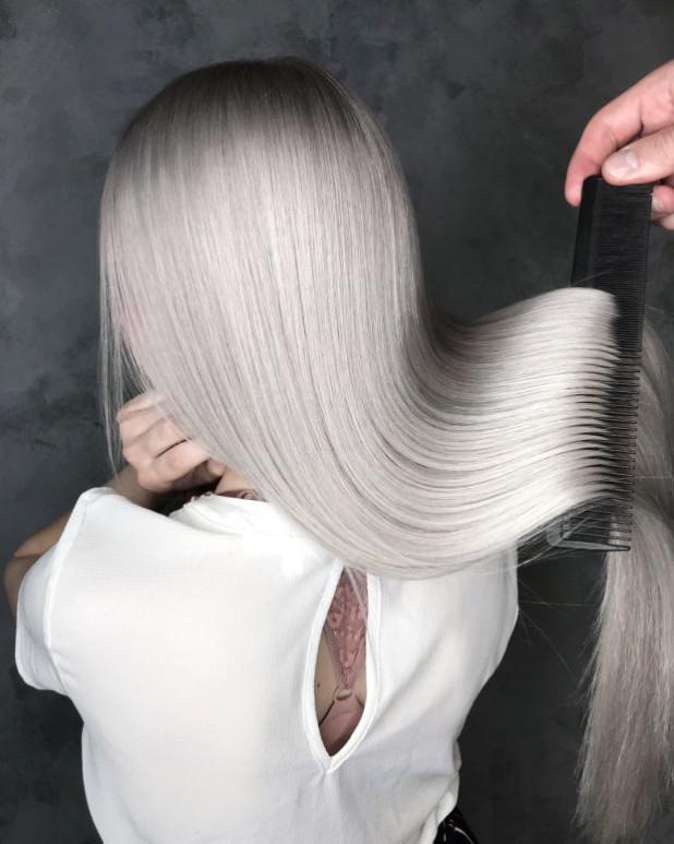 окрашивание на длинные волосы: серебро пепел