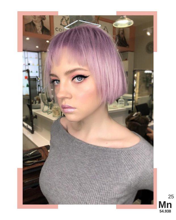 окрашивание на короткие волосы: фиолетовый металлик