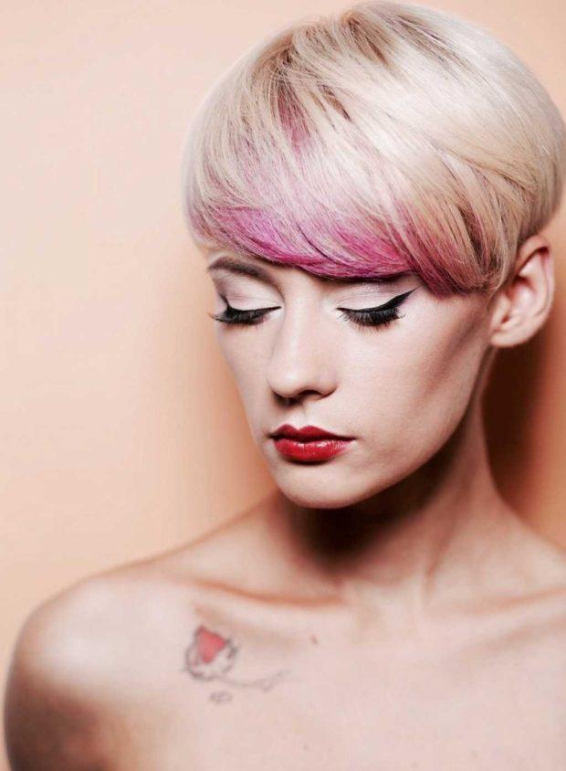 окрашивание на короткие волосы: с розовыми и лиловыми отливами