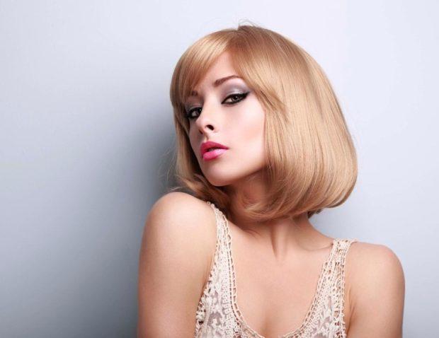 окрашивание коротких волос: Клубничная блондинка