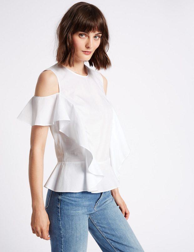 Модные блузки с открытыми плечами 2018-2019 фото новинки