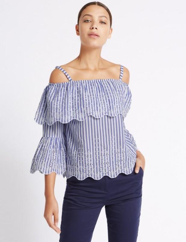 блузки с открытыми плечами 2018-2019фото
