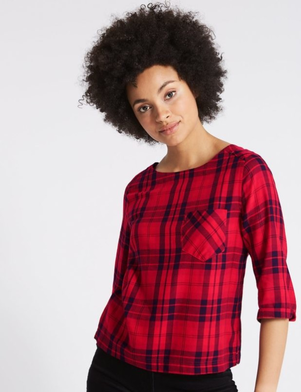 красивые блузки в клетку и полоску 2018-2019 фото новинки