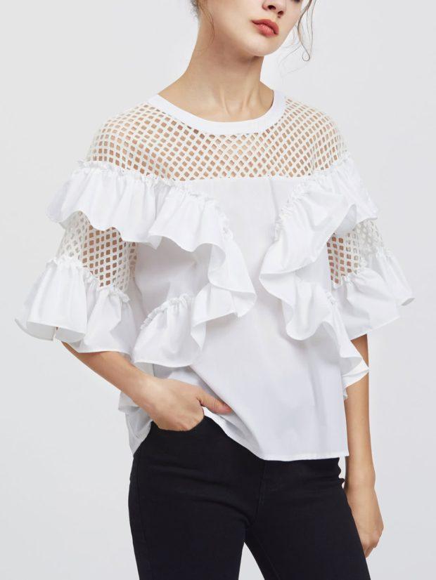 Модные блузки с рукавом сеткой 2018-2019