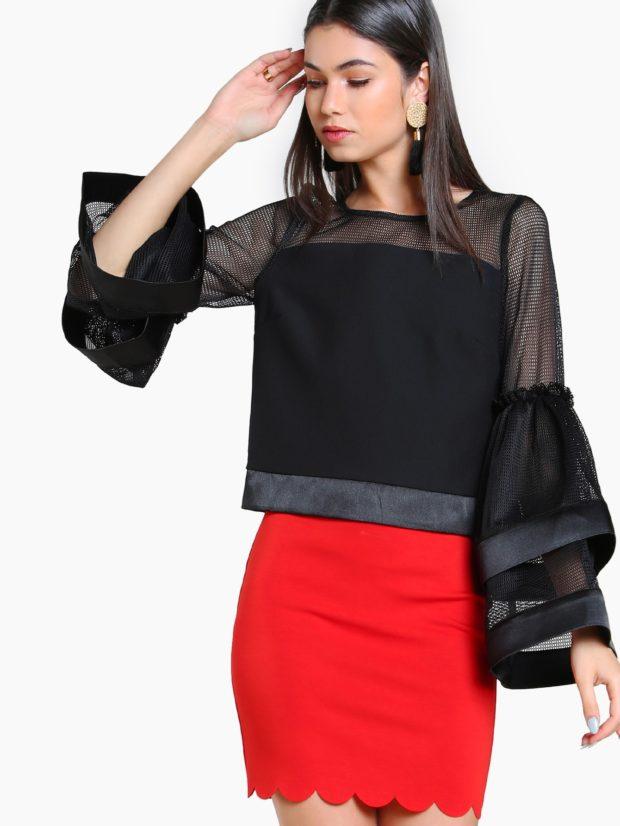 стильные блузки с рукавом сеткой 2018-2019 фото новинки