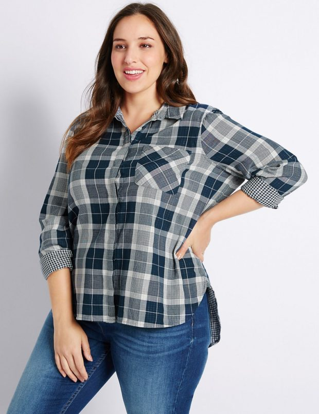 Модные блузки для полных 2018-2019 фото новинки