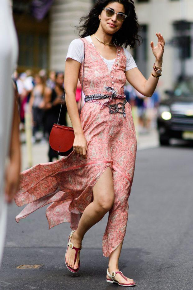 розовое платье под майку