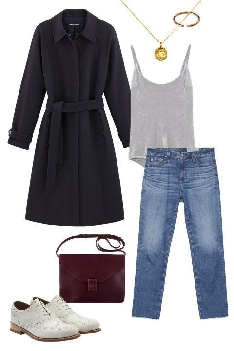 Модный уличный лук с пальто