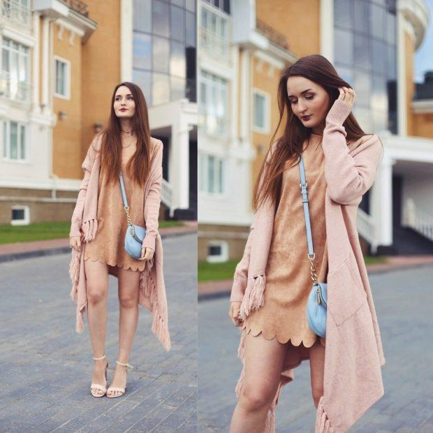 модные луки: замшевое платье