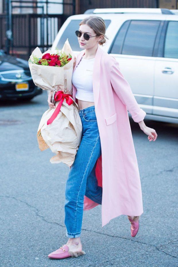 модные луки: розовое пальто