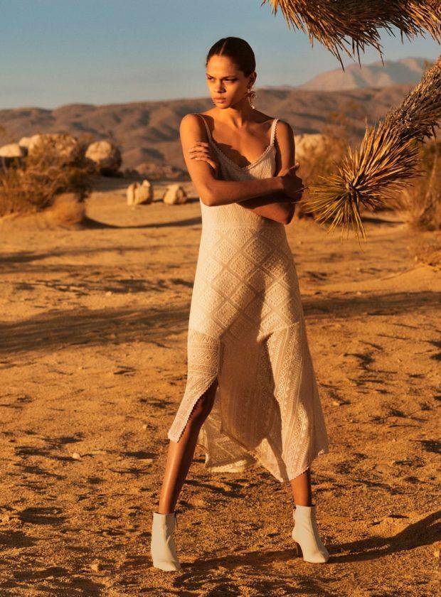 модные луки: белое кружевное платье