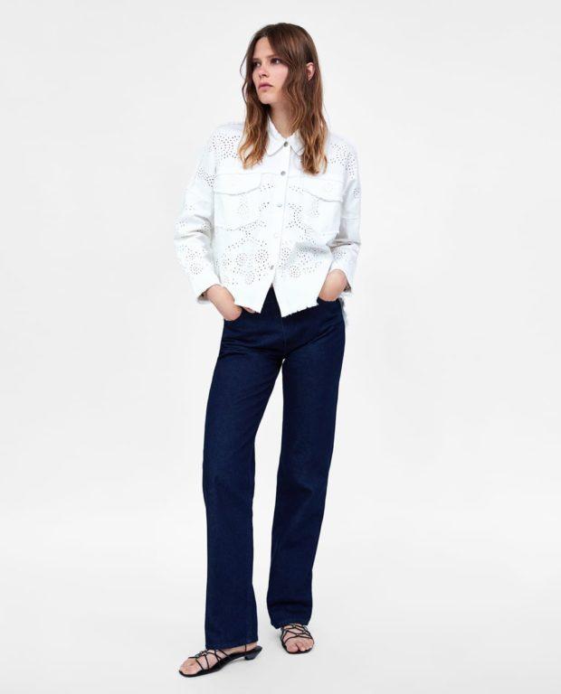 модные луки: ковбойская рубашка белая