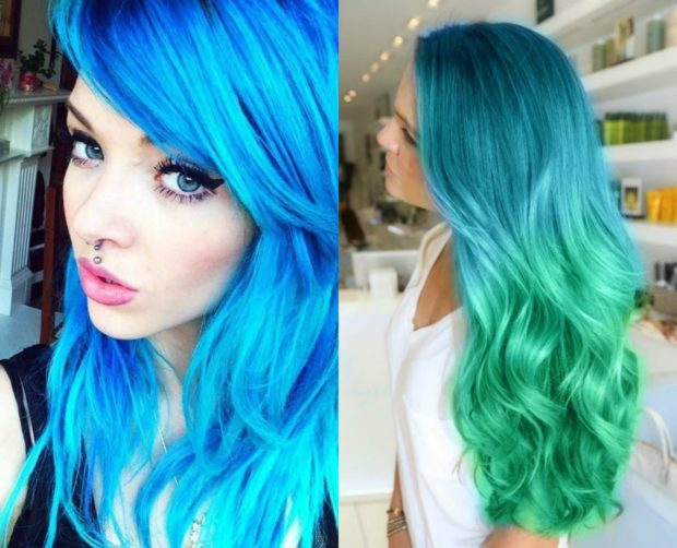 Модное окрашивание в голубой цвет на длинные волосы 2018-2019 фото