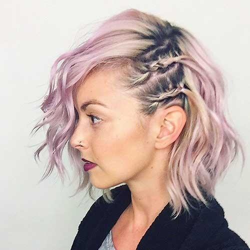 эффектное окрашивание волос с розовыми и лиловыми отливами 2018 году на короткие волосы фото