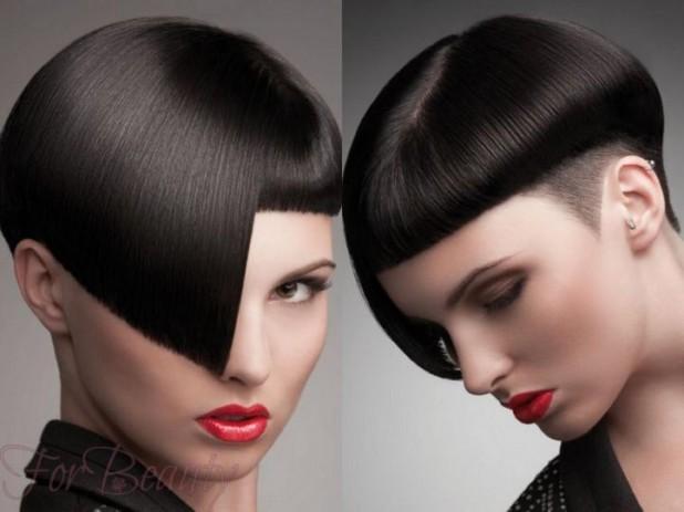 Модная стрижка «Сессун» на средние волосы с челкой 2018-2019 фото после 30