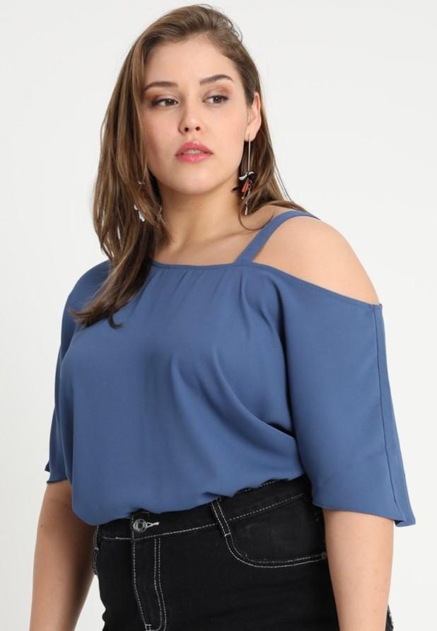 Модные синяя блузки с открытыми плечами 2018-2019