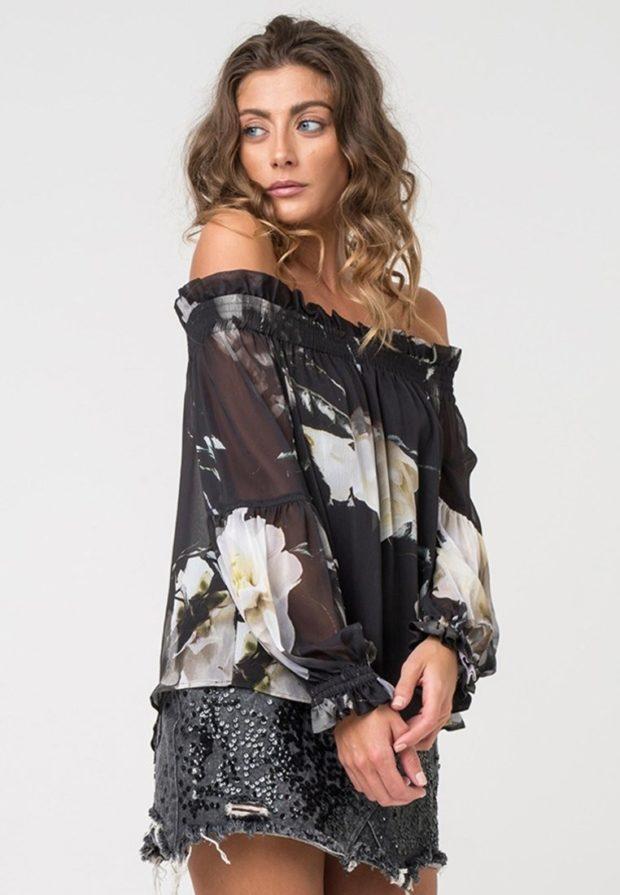 Модные черная блузки с открытыми плечами 2018-2019