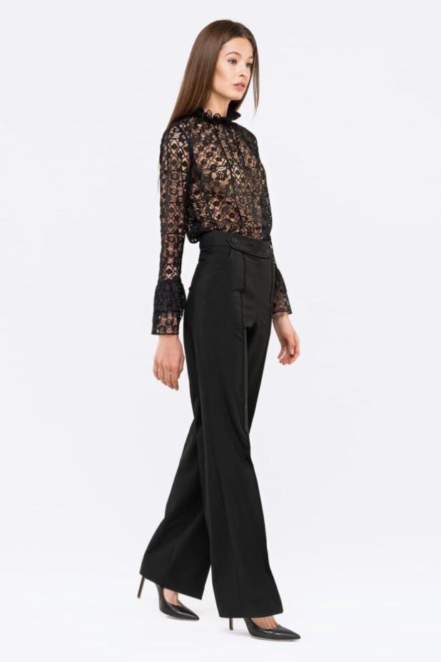 Модная черная кружевная блузка 2018-2019
