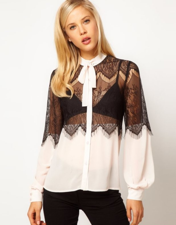 Модная черно-белая кружевная блузка 2018-2019