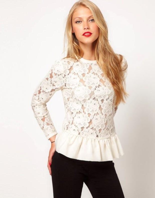 Модная белая кружевная блузка 2018-2019