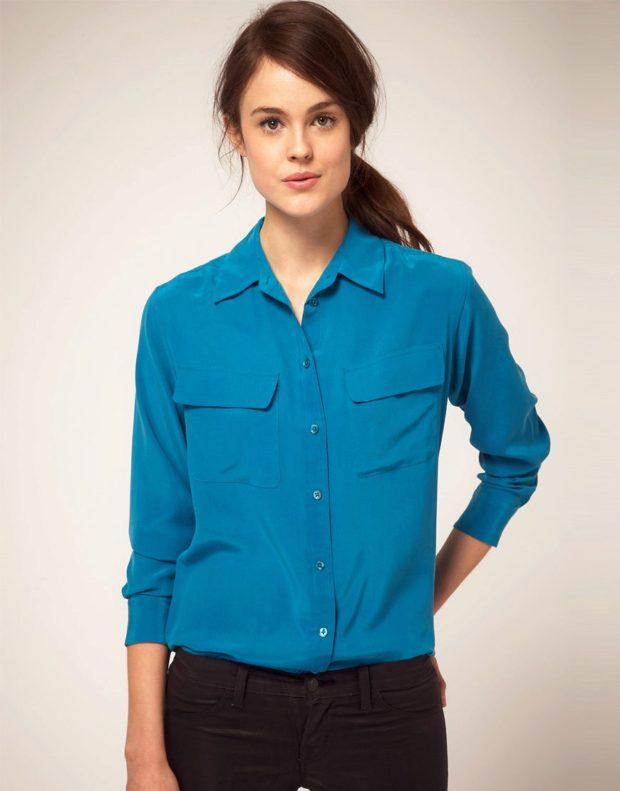 Модные синяя шелковые блузки 2018-2019
