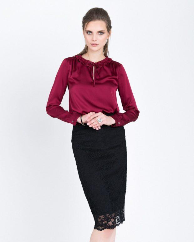 Модные красная шелковые блузки 2018-2019