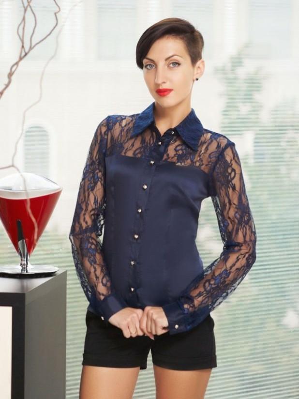 Модная блузка с рукавом сеткой 2018-2019