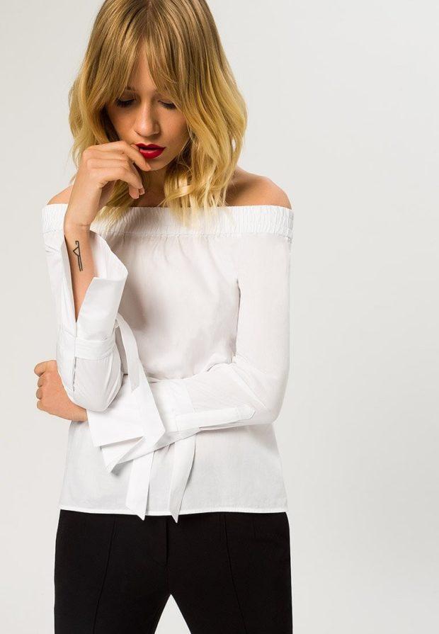 Модные белая блузки с открытыми плечами 2018-2019
