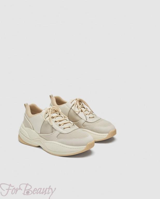 Модные бежевые женские кроссовки 2018
