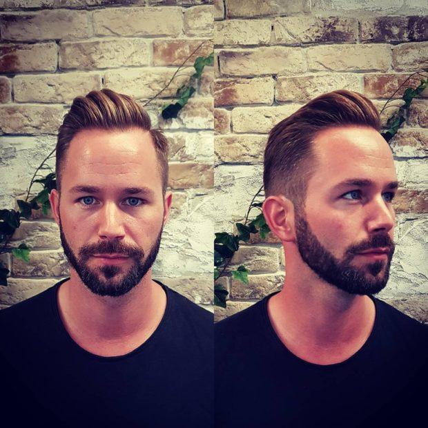 Мужская стрижка +борода модные тенденции фото новинки на овальное лицо