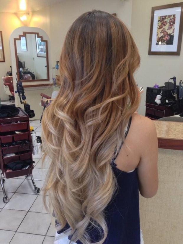 Окрашивание балаяж на русые волосы