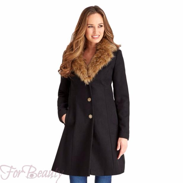 Женское модное пальто с меховой отделкой 2018 фото новинки