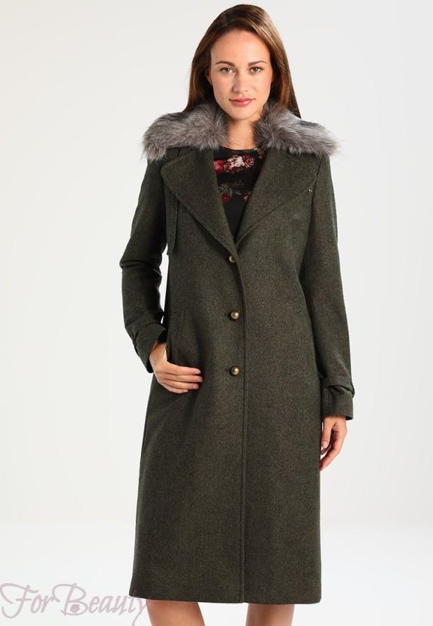 Женское пальто в стиле «Милитари» 2018 фото новинки с мехом