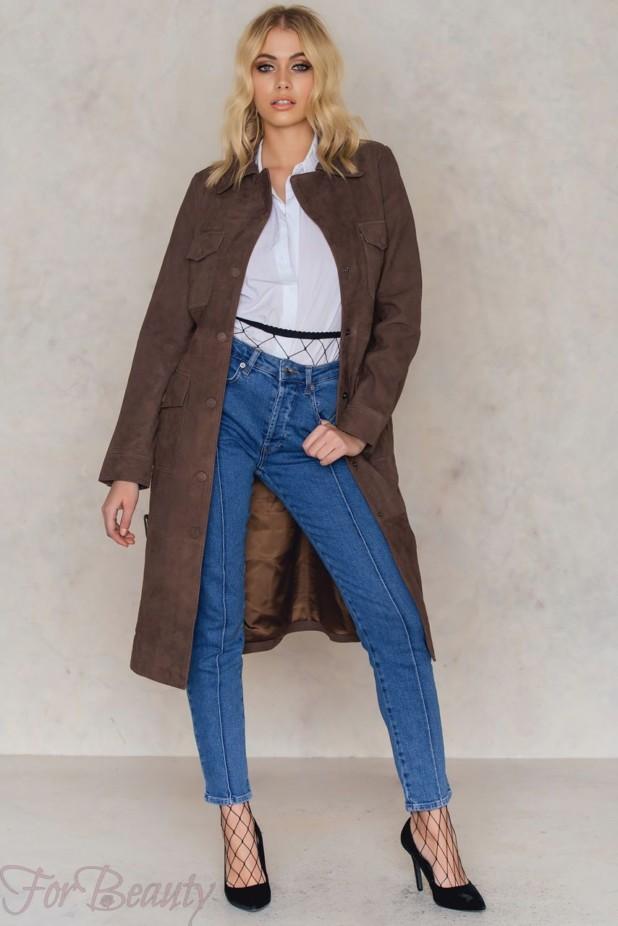 Женское стильное пальто из замши 2018 фото новинки