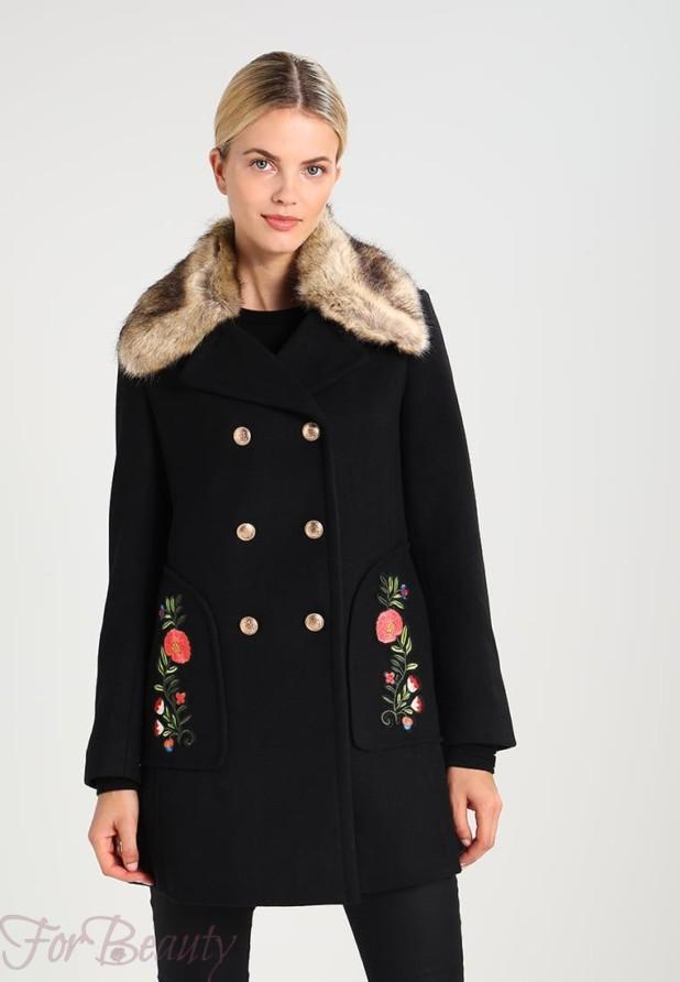 Женское черное пальто 2018 фото новинки с мехом
