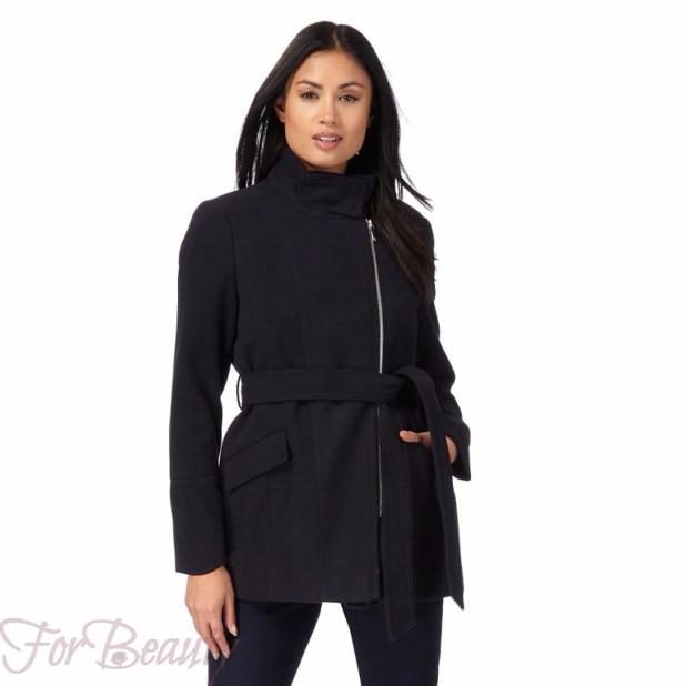 Женское черное пальто 2018 фото новинки на молнии