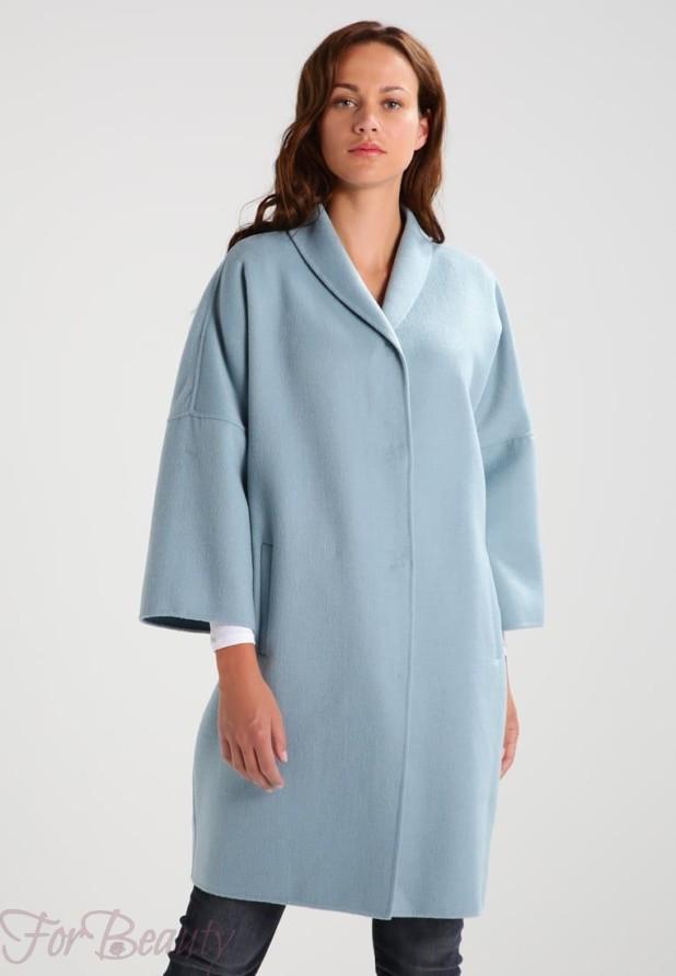 Женское пальто с рукавами три четверти 2018 фото новинки голубое