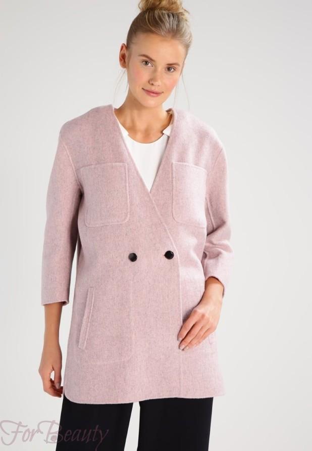 Женское пальто с рукавами три четверти 2018 фото новинки розовое