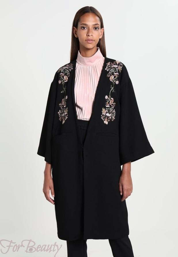 Женское пальто с рукавами три четверти 2018 фото новинки с принтом