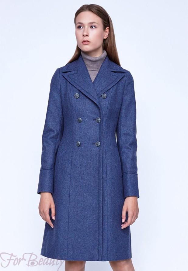 Классическое синее женское пальто 2018