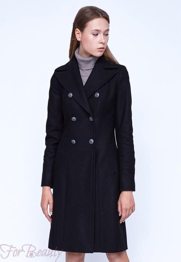 Классическое черное женское пальто 2018
