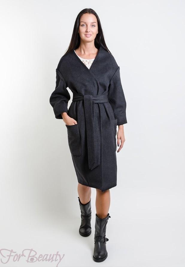 Классическое серое женское пальто 2018