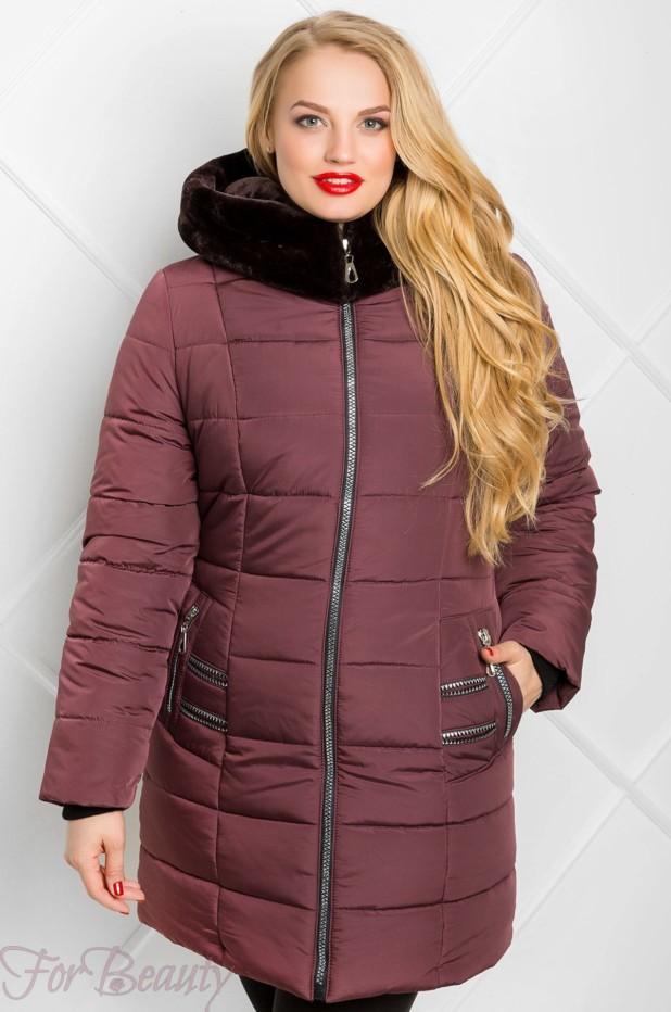 Женское бардовое пальто пуховик 2018